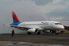Фото 61. Встреча Суперджет 100 индонезийской авиакомпании Sky Aviation в аэропорту Халим в Джакарте (Индонезия). 28 февраля 2013 г.