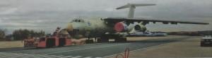 Ил-76ЛЛ с двигателем ПД-14 на левом внутреннем пилоне
