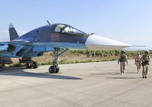 Су-34 ВВС России в Сирии. На пилонах видны корректируемые бомбы со спуниковым наведением КАБ-500С