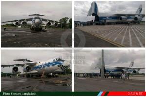 Транспортные самолеты Ан-124-100 и Ил-76ТД-90ВД доставившие в Бангладеш первые шесть Як-130 для ВВС Бангладеш, а также сопутствующее оборудование. Дакка, 22-23 сентября 2015 г.