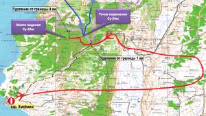 Карта с траекторией полета сбитого Су-24