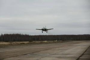 Первый летный опытный образец самолета СР-10 в первом полете. Орешково (Калужская область). 25 декабря 2015 года