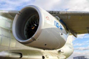 Опытный образец ПД-14 под крылом летающей лаборатории Ил-76ЛЛ
